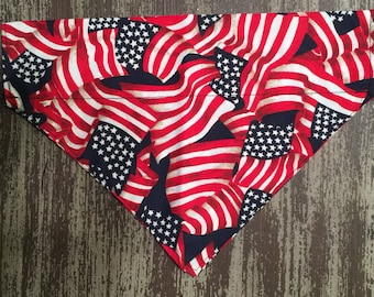 Collar Bandana Dogs and Cats - Slide on Collar Sleeve - Pet Scarf Bandana / American Flag U.S.A. Patriotic
