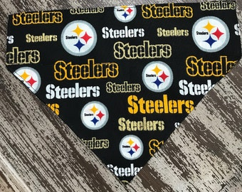 Collar Bandana Dogs and Cats / Slide on Collar Sleeve / Pet Scarf Bandana / NFL STEELERS Football