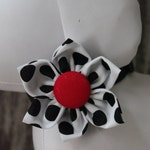Bow Tie or Flower Collar Attachment & Accessory for Dogs and Cats / Black and White Polka Dots