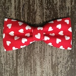 VALENTINE'S DAY Bow Tie or Flower Collar Attachment & Accessory for Dogs and Cats/ Red with White Hearts
