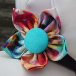 Bow Tie or Flower Collar Attachment & Accessory for Dogs and Cats / 70's Tie Dye