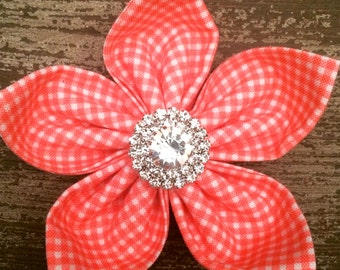 Jeweled Salmon Flower Cat Collar Cover Jeweled Salmon Flower Dog Collar Cover Faux Diamond /& Pearls Salmon Flower Dog Collar Cover