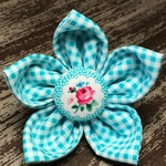 Bow Tie or Flower Collar Attachment & Accessory for Dogs and Cats / Blue Gingham and Floral Button