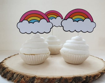 Rainbow Cupcake Toppers - Set of 12 - Bright Colors