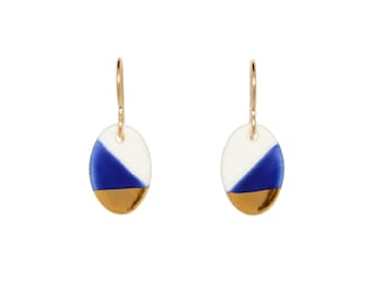 free international shipping, oval dangles, royal blue and gold dipped earrings, free shipping