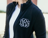 Monogrammed Fleece Jacket, Full Zip Womens Jacket, Christmas Gift for Her under 30 a6