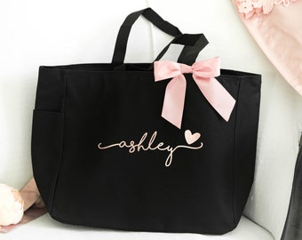 Bridesmaid Totes, Maid of Honor Gift, Bridesmaid Tote Bags with Zipper, Personalized Tote Bag Bridesmaid Gifts (BR036)