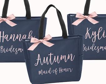Personalized Bridal Tote Bag, Bridesmaid Tote Bag, Maid of Honor Tote Bag, Monogrammed Tote Bag (BR050)