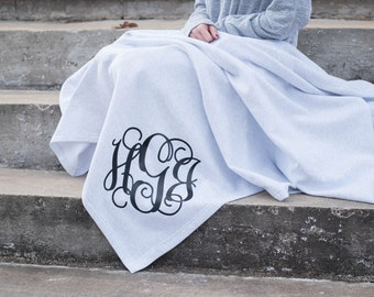 Monogram Blanket ~ Monogrammed Fleece Throw ~ Gift for Her ~ Gift Under (MG005)