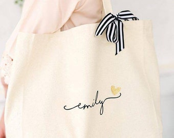 Bridesmaid Tote Bag, Personalized Bridesmaid Gift, Maid of Honor Totes, Bridal Party Bags, Sorority Big Little Gift (BR036) b1