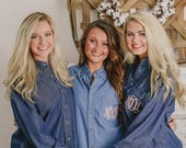 Bridesmaid Monogrammed Denim Shirt ~ Chambray Button Down ~ Bridesmaid Gift ~ Bride Getting Ready Shirt a3
