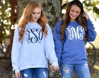 SALE!! Monogrammed Sweatshirt ~ Monogram Sweater ~ Crewneck ~ Gift for Her ~ Gift Under 20 (V)