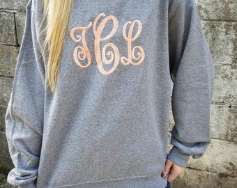 Monogrammed Sweatshirt ~ Monogram Crewneck Sweater ~ Gift for Her ~ Gift Under 30
