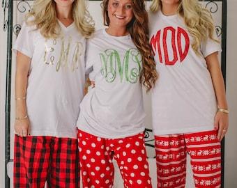 monogrammed christmas pajamas youth adult monogrammed pajama pants christmas pjs - Christmas Pajamas Women