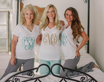 5eb4a4990 Bridesmaid Pajama Set, Monogrammed Pajamas, Cute Pajama Pants for  Bridesmaids (B27)