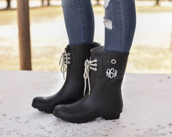 c77c73bd8d9 Monogrammed Rain Boots