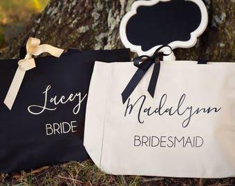Bridesmaid Tote Bag Bridal Party Tote Maid of Honor Tote Monogrammed Tote Bag (BR048)