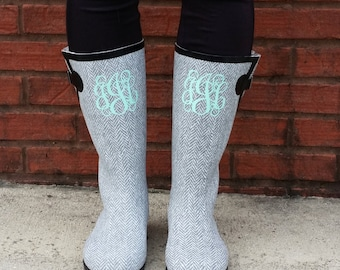 Custom Tall Black Camo Rain Boots Turquoise Bows Monogram