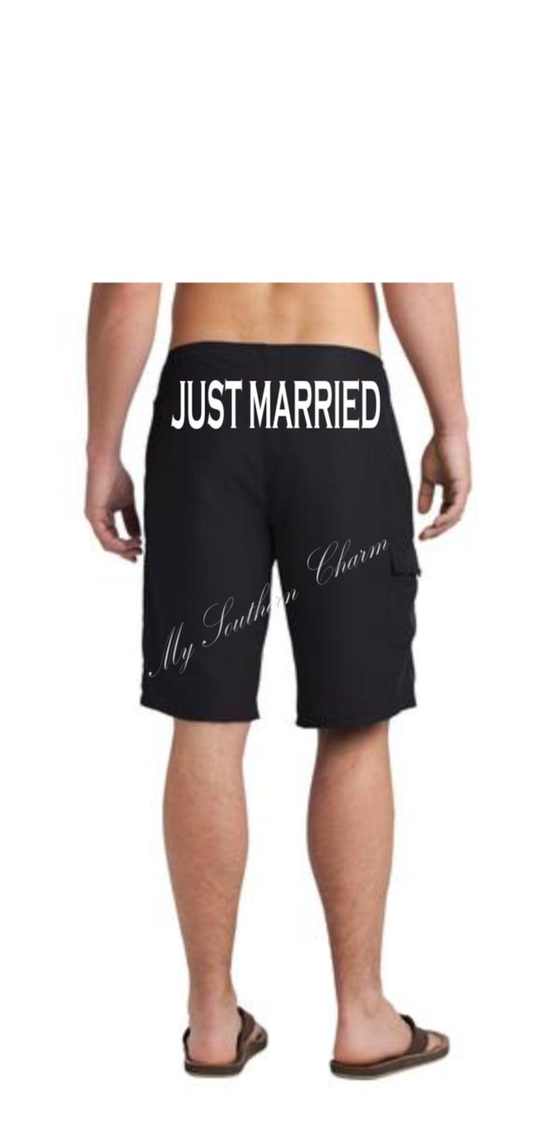5bd4e37eea6be Just Married Board Short Honeymoon Groom Board Short | Etsy