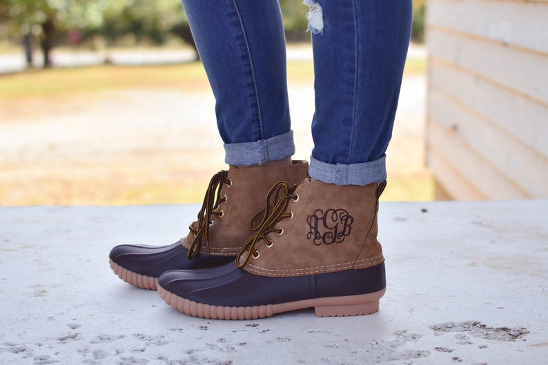 Monogrammed Duck Boots Plaid Duck Boots Womens Monogrammed image 0