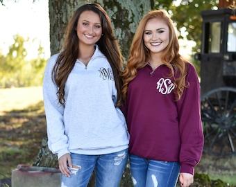 Quarter Zip Monogrammed Sweatshirt ~ 1/4 Zip Monogram Pullover Sweater ~ Gift for Her ~ Gift Under 30 (MG003)