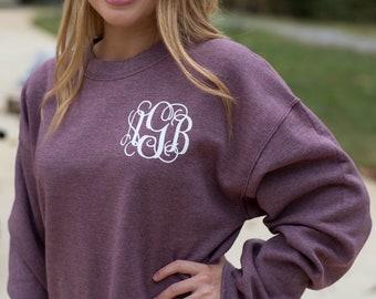 Monogrammed Sweatshirt ~ Monogram Sweater ~ Crewneck ~ Gift for Her ~ Gift Under 20 (MG003)