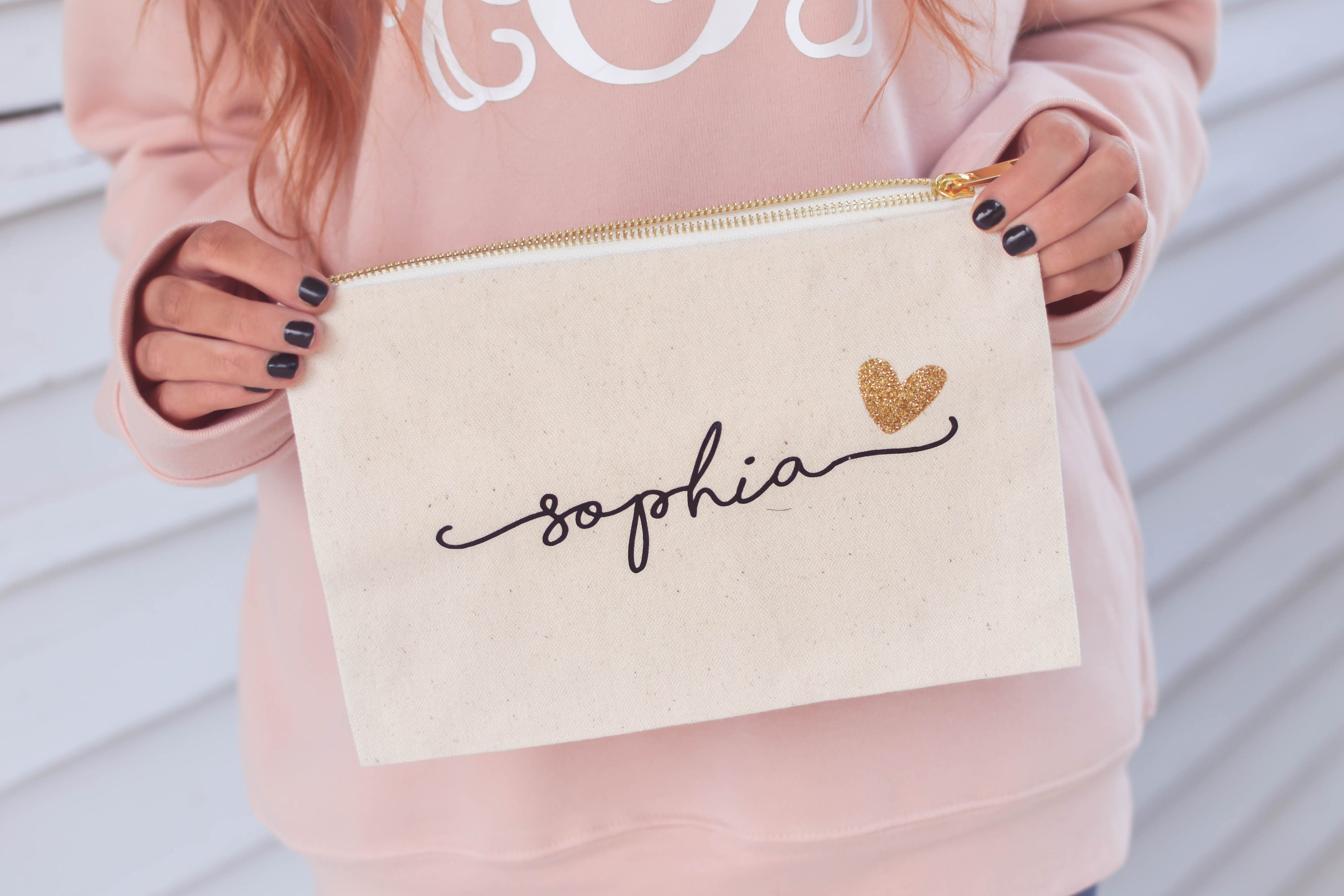 Bridesmaid Cosmetic Bag Personalized Makeup Bag Bridesmaid Gift Make Up Bag Br036