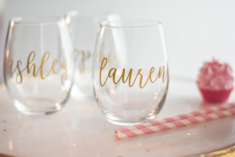 8eb244ed22e Bridesmaid Gift Bridesmaid Wine Glasses Personalized | Etsy