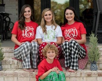Matching Family Christmas Pajamas ~ Personalized Adult Christmas Pajamas for Women Kids ~ Womens Christmas Pjs Family (MG001) B49