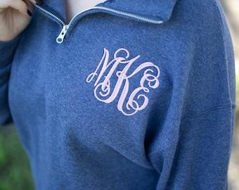 Monogram Quarter Zip Pullover Sweatshirt, Christmas Gift for Her