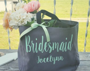Bridesmaid Tote Bags, Maid of Honor Tote, Personalized Bridesmaid Bags, Bridal Party Bridesmaid Gifts  (BR001)