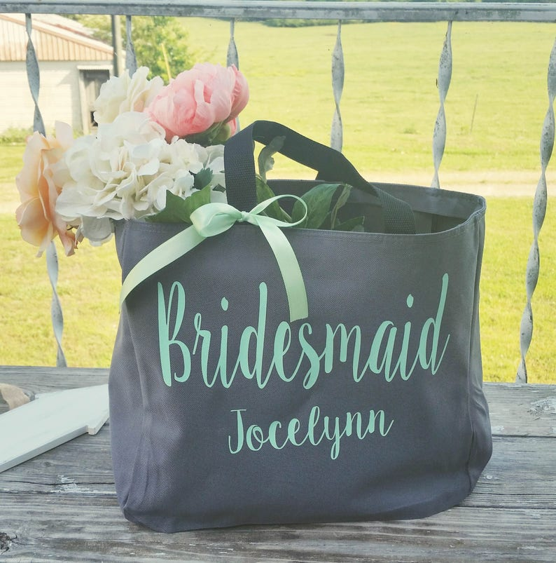 Bridesmaid Tote Bags Maid of Honor Tote Personalized image 0
