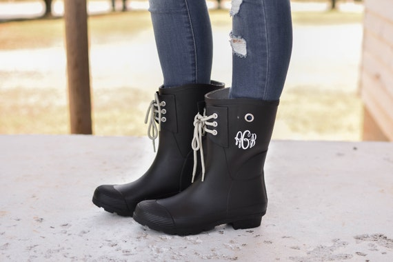 1ae679ee2335d Monogrammed Rain Boots, Womens Rain Boots, Christmas Gift for Her,  Girlfriend Christmas Gift, Wife Christmas Gift