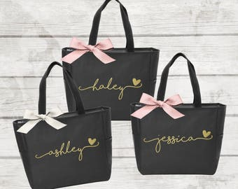 Bridesmaid Tote Bags, Maid of Honor Tote, Personalized Bridesmaid Bags, Bridal Party Bridesmaid Gifts  (BR036)
