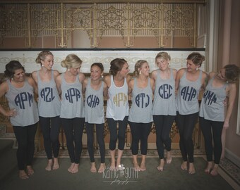 Set of 6 Bridesmaid Shirts, Bachelorette Party Shirts, Monogram Bridesmaid Shirt, Bridal Party Tank Tops (mg001) B31