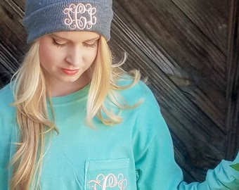 Monogrammed Pom Pom Beanie Hat, Christmas Gifts for Her under 20 b11
