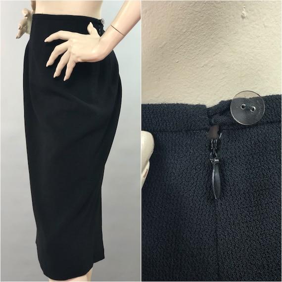 JEAN MUIR Skirt | Lined Wool Skirt | Black Pencil