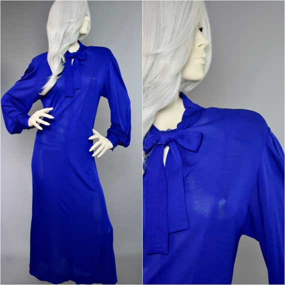 Jean Muir Gown | 80s Pussy Bow Frock | Bishop Slee