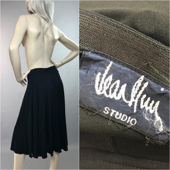 JEAN MUIR Skirt | Deep Waist Midi | Black 80's Ski