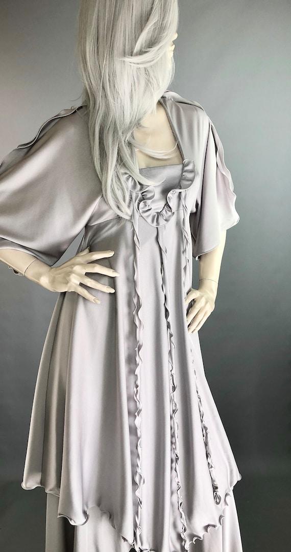 Tiered Metallic Kaftan Anne Tyrrell for John Marks \u2219 70s Silver Gown