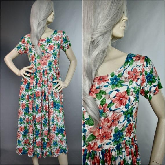 Monsoon Floral Dress | 80s Scoop Back Frock | Full