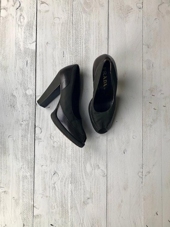 PRADA Leather Heels | Brown Textile Shoes | Peep T