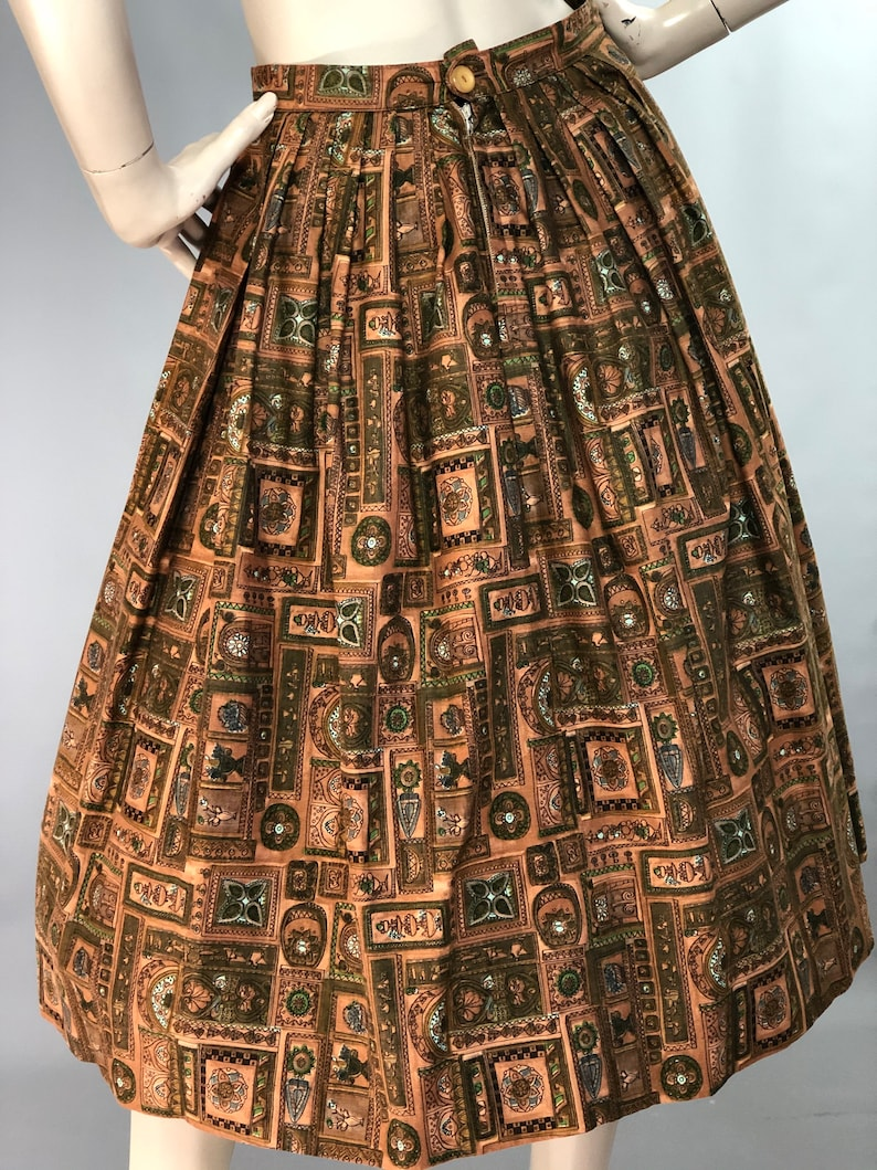 1950s Novelty Print Skirt Printed Cotton 50s Skirt Ligurian Print Skirt