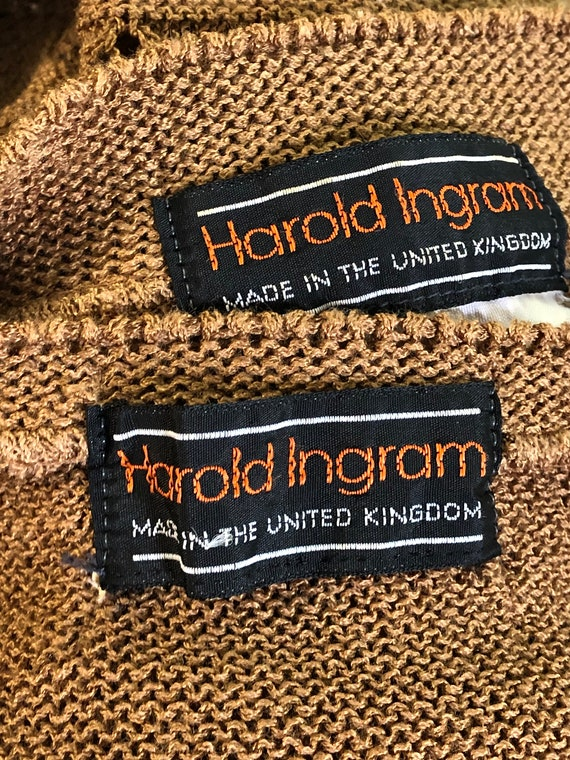 Harold Ingram Cut Outs Pattern Golden Brown Wool Blend 40s style Cardigan Tank Twin Set