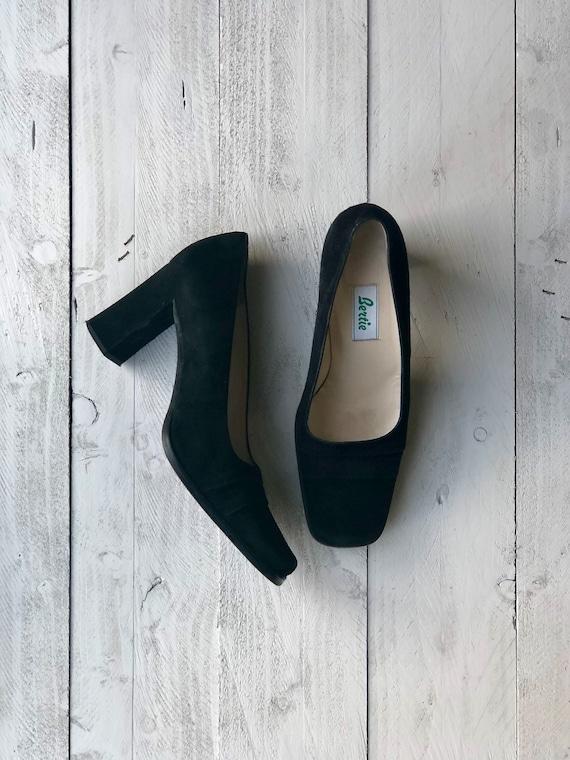 Bertie Suede Shoes | 90s Black Pumps |  Square Toe