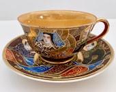 Vintage Satsuma Occupied Japan Tea cup and Saucer Teacup Set Made in Japan 1940 39 s