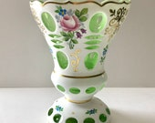 9 quot Hand Painted Bohemian Cased Crystal Vase Moser Style