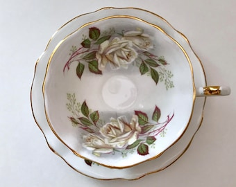White Rose Queen Anne China Tea Cup & Saucer
