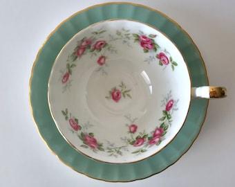 Aynsley Sage Oban Roses China Tea Cup & Saucer