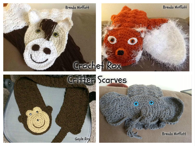 Crochet Patterns Critter Scarves Pattern Pack Horse Monkey Etsy